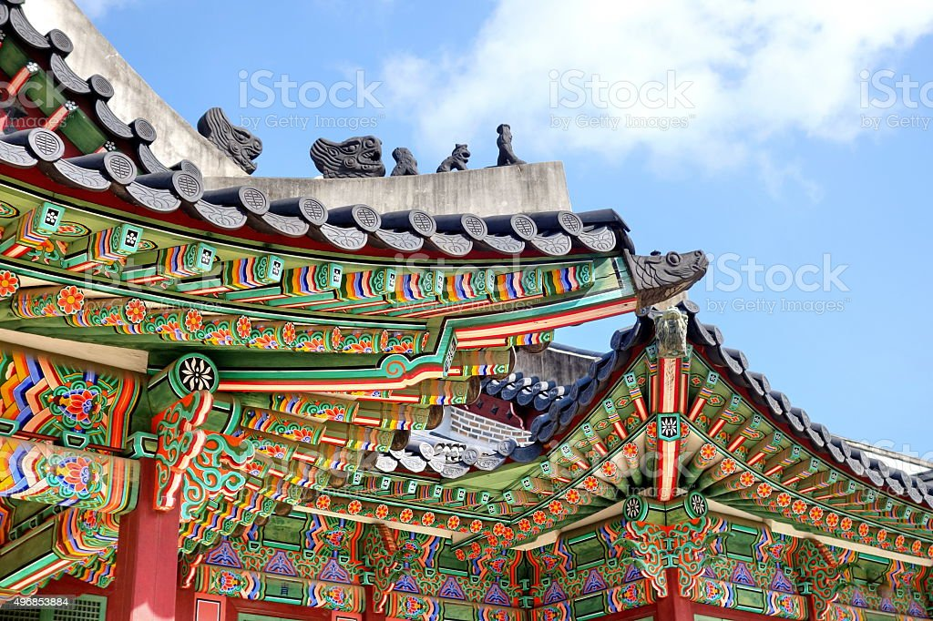 Roof detail of Changdeokgung Palace stock photo