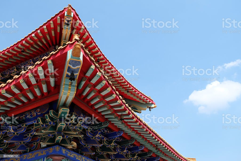 Roof detail of Chinese Temple stock photo