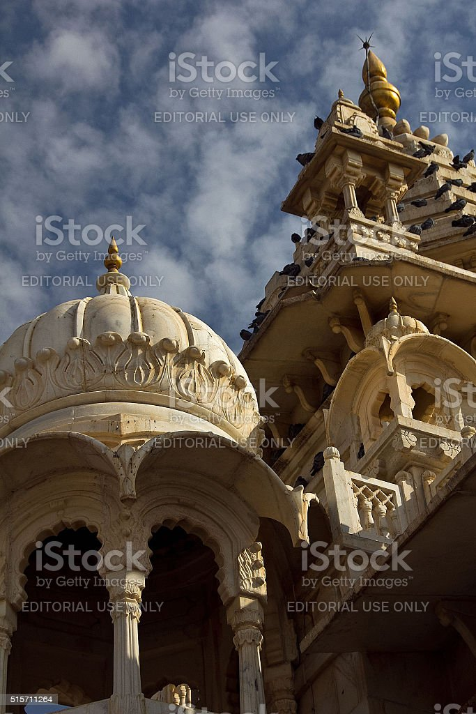 roof detail of Jaswant Thada cenotaph against a cloudy sky stock photo