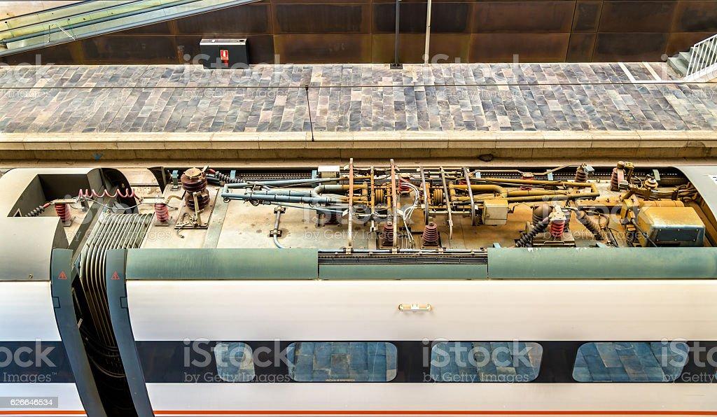 Roof equipment of a Siemens Velaro high-speed train at stock photo