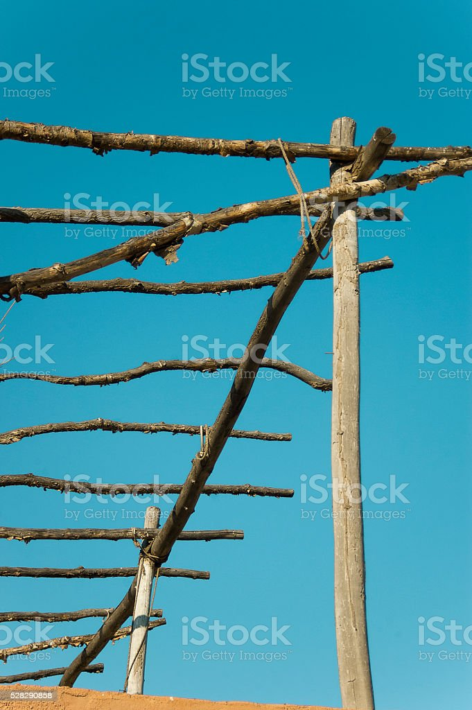 Roof Fence Detail in Western Movie Town Set, Fort Bravo stock photo
