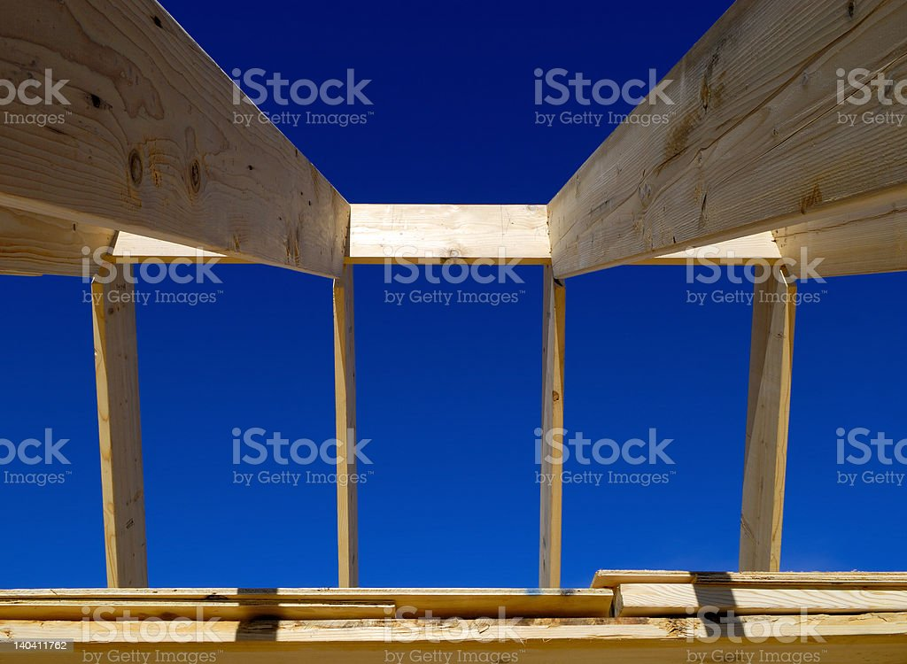 Roof frame and clear blue sky (2) royalty-free stock photo