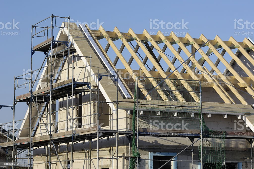 Roof framework of a classic one family house royalty-free stock photo