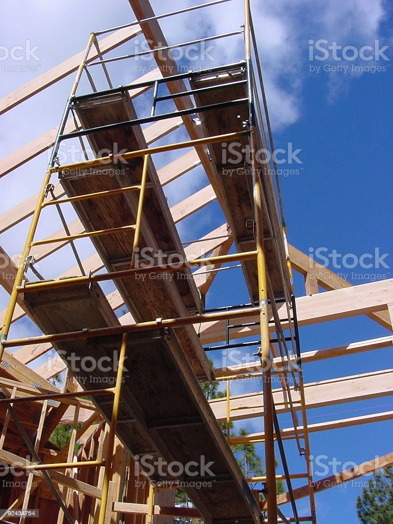 Roof framing and scaffolding royalty-free stock photo