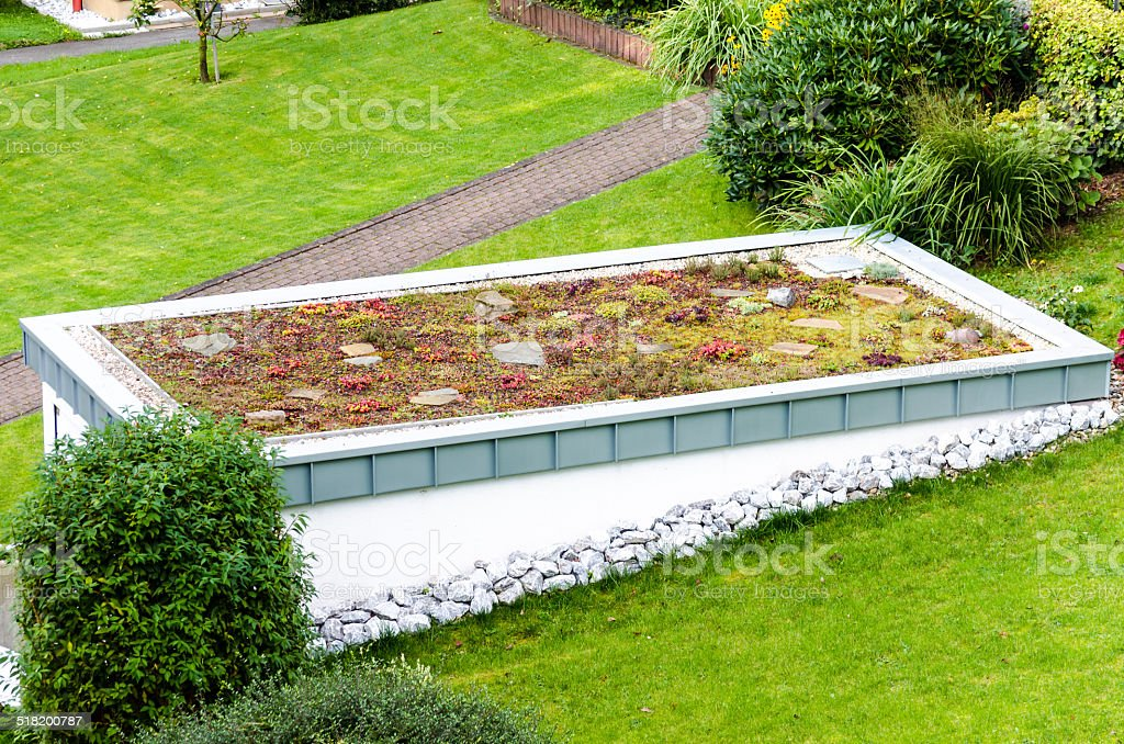 Roof garden, green roof stock photo