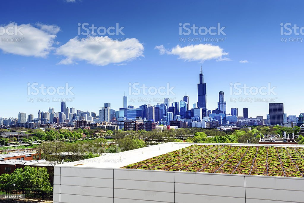 Roof garden in Chicago stock photo