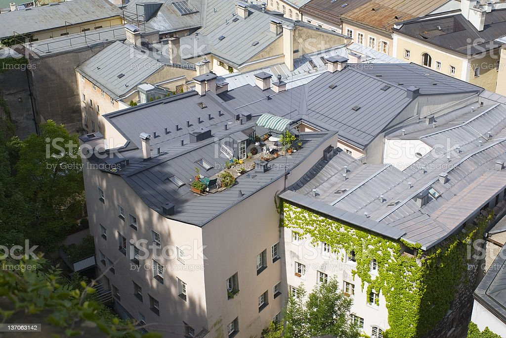 Roof garden relaxing in Salzburg royalty-free stock photo