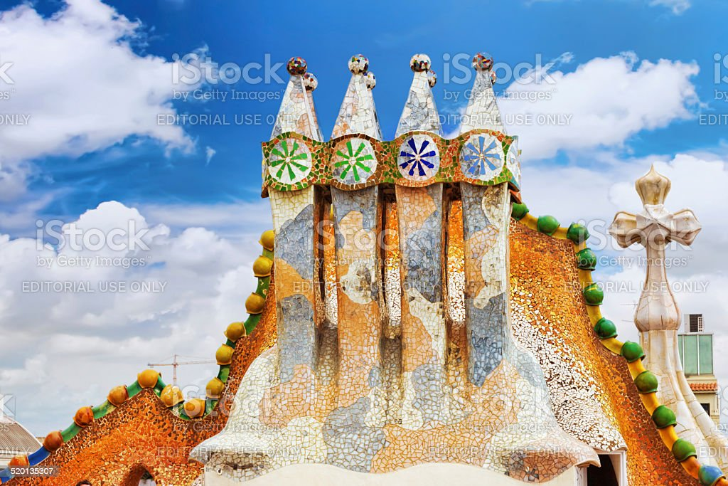 Roof, housetop  Gaudi's  creation-house Casa Batlo. stock photo