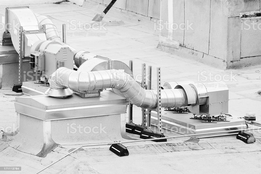 Roof HVAC Factory Industrial Duct Equipment royalty-free stock photo