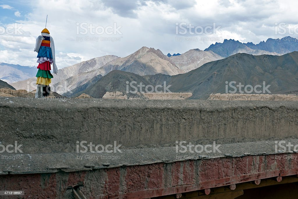 Roof in Monastery Likir Northern India stock photo