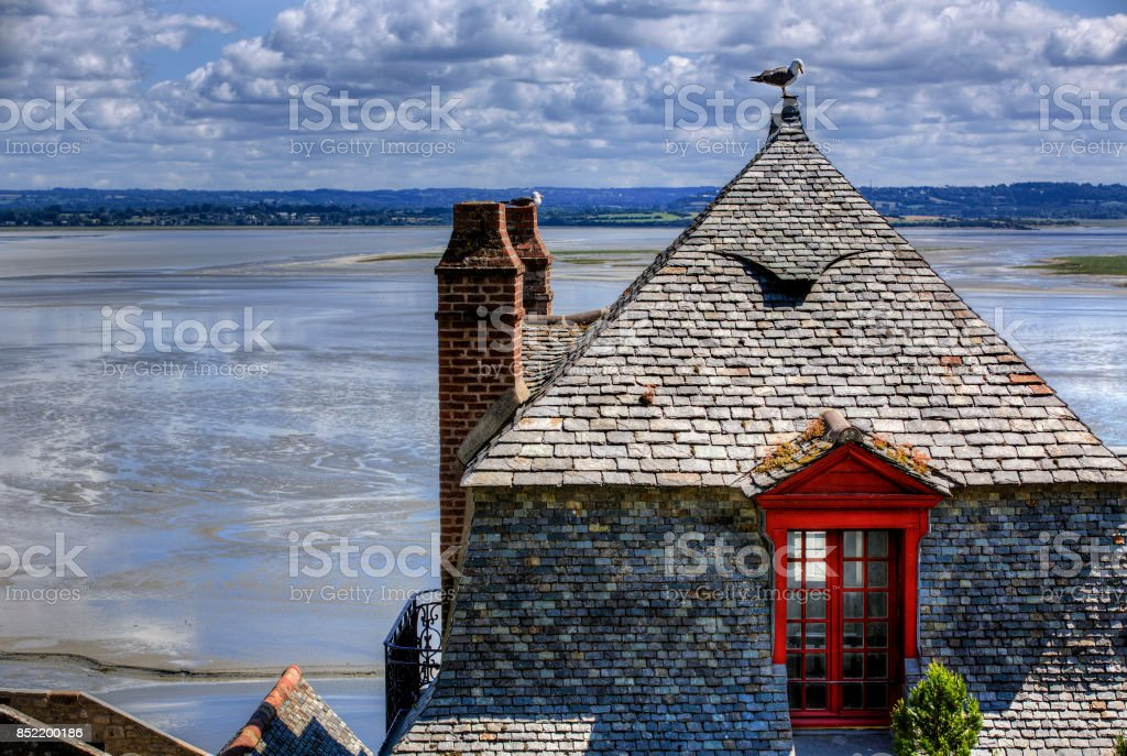 Roof in the Village of Saint Michael's Mount, Normandy, France stock photo