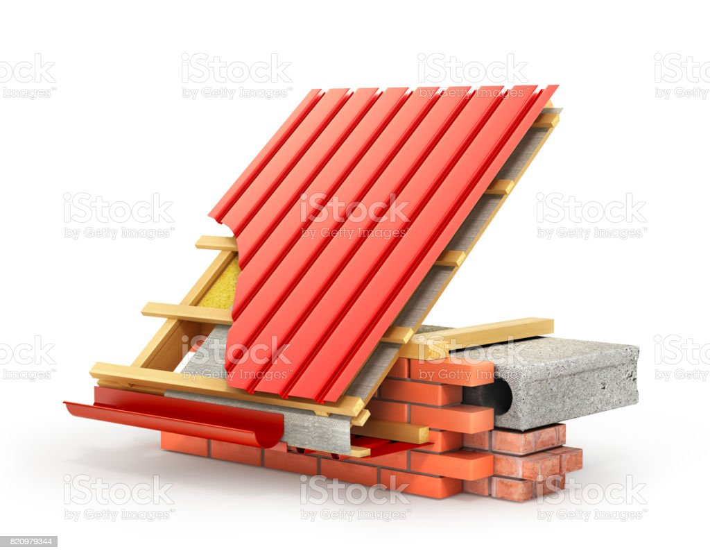 Roof installation. Metal tile coating on the roof with technical details and layers of construction stock photo