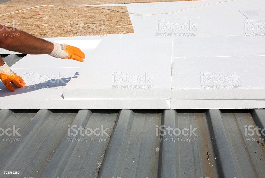 Roof insulation stock photo
