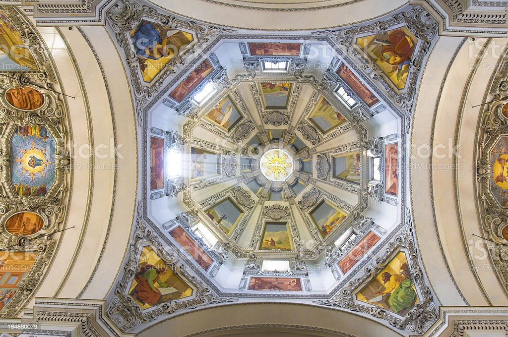 Roof Interior of the Salzburg Cathedral Dome royalty-free stock photo
