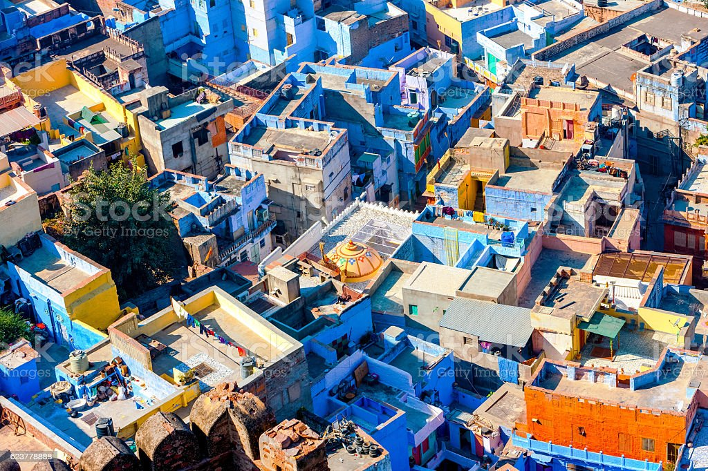 Roof Jodhpur, the Blue City of Rajasthan, India stock photo