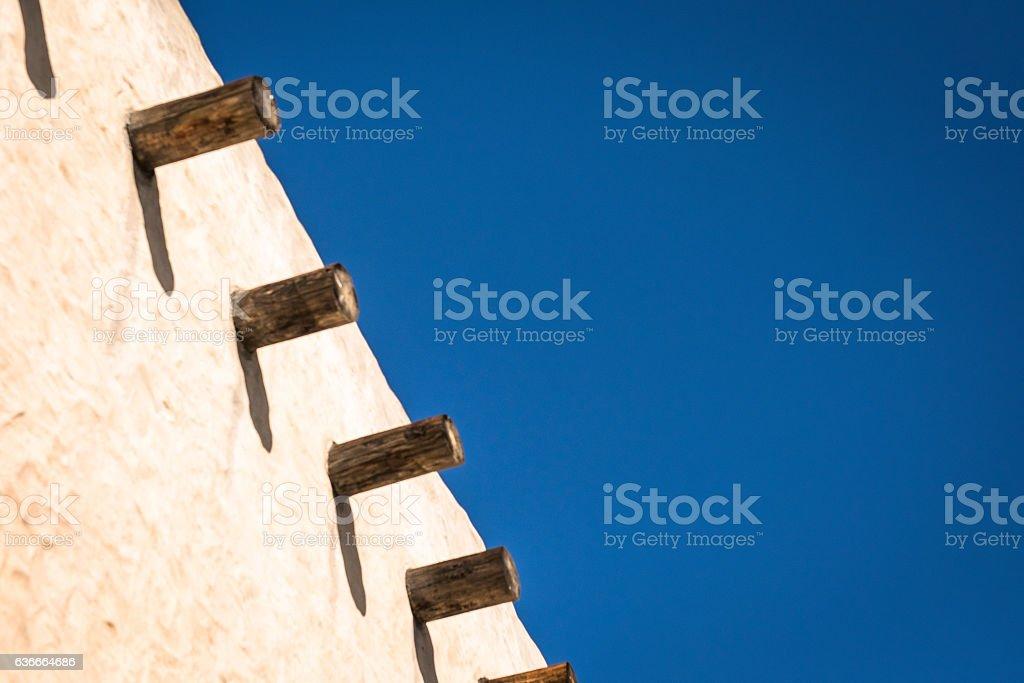 Roof line of adobe church stock photo