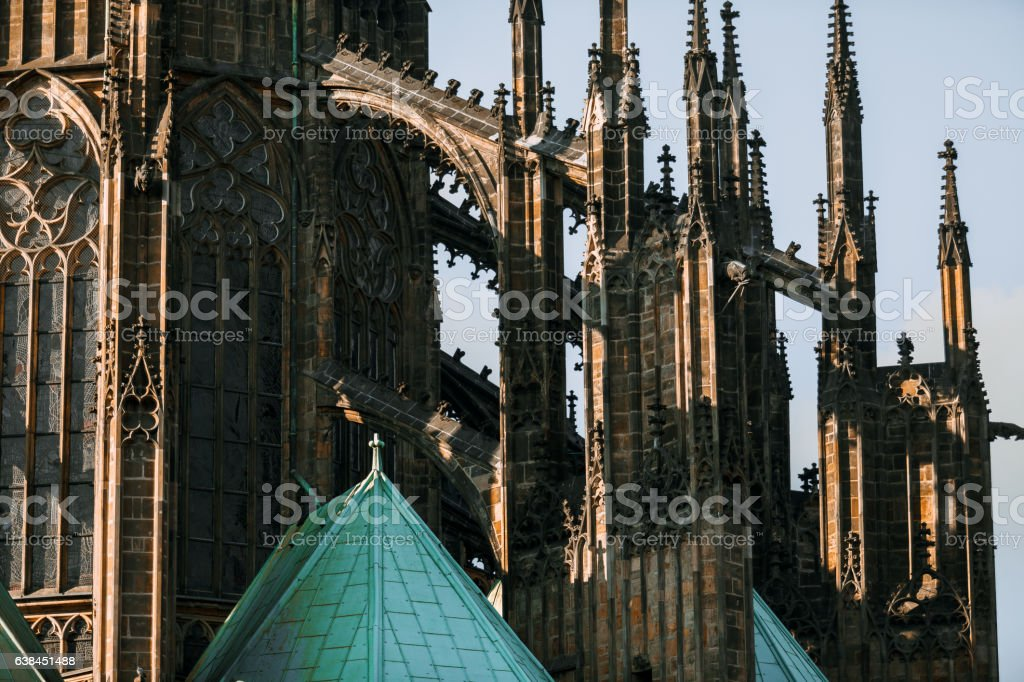 Roof line with flying buttresses on the gothic St Vitus stock photo