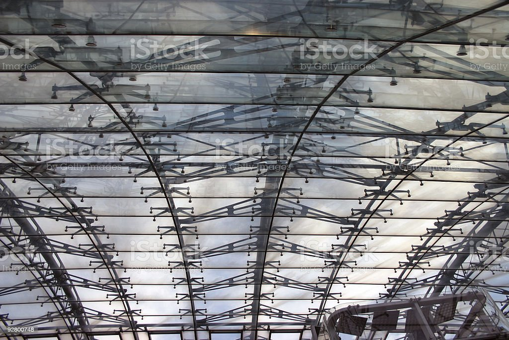 Roof made of glass and steel royalty-free stock photo