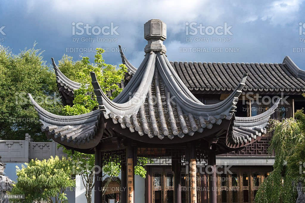 Roof Moon Locking Pavilion Portland Oregon Lan Su Chinese Garden stock photo