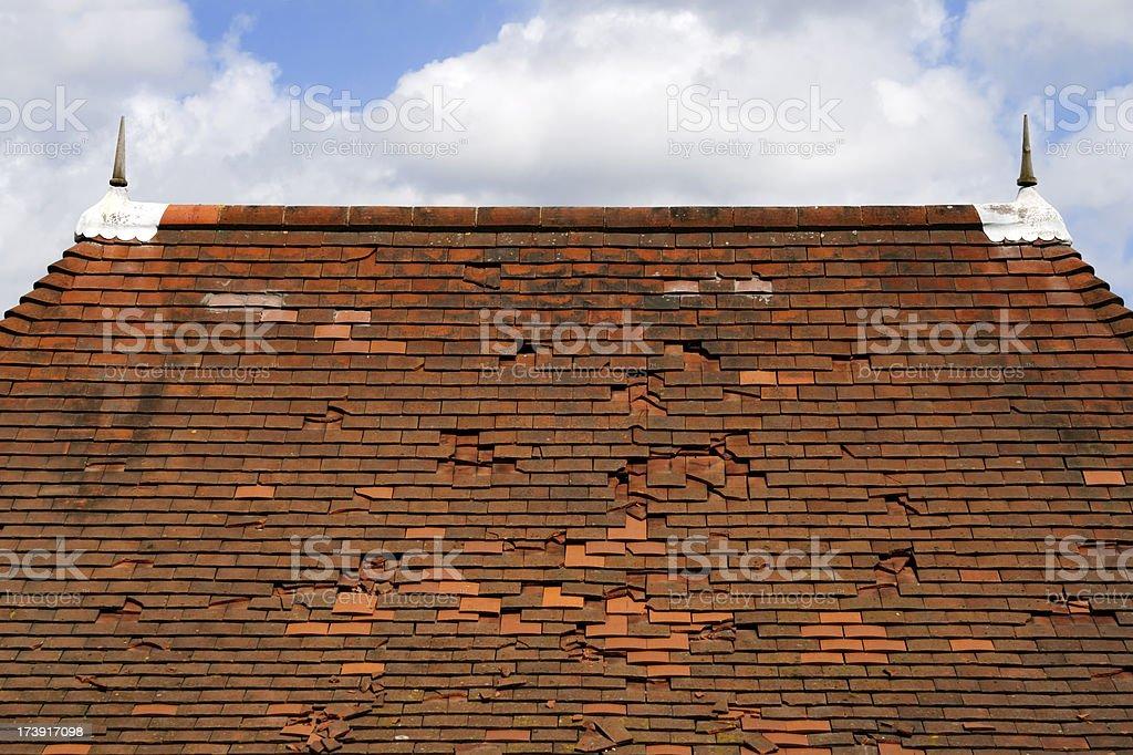 Roof needing repair stock photo