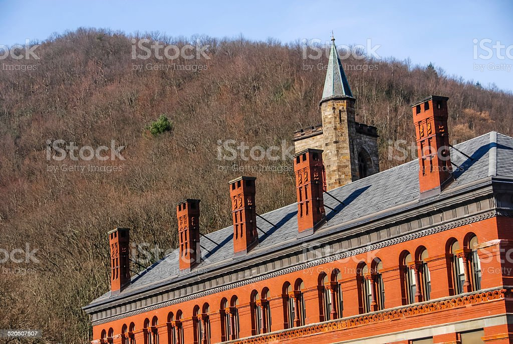 Roof of a Brick Building stock photo