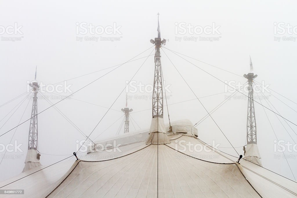 Roof of a circus tent in the fog stock photo