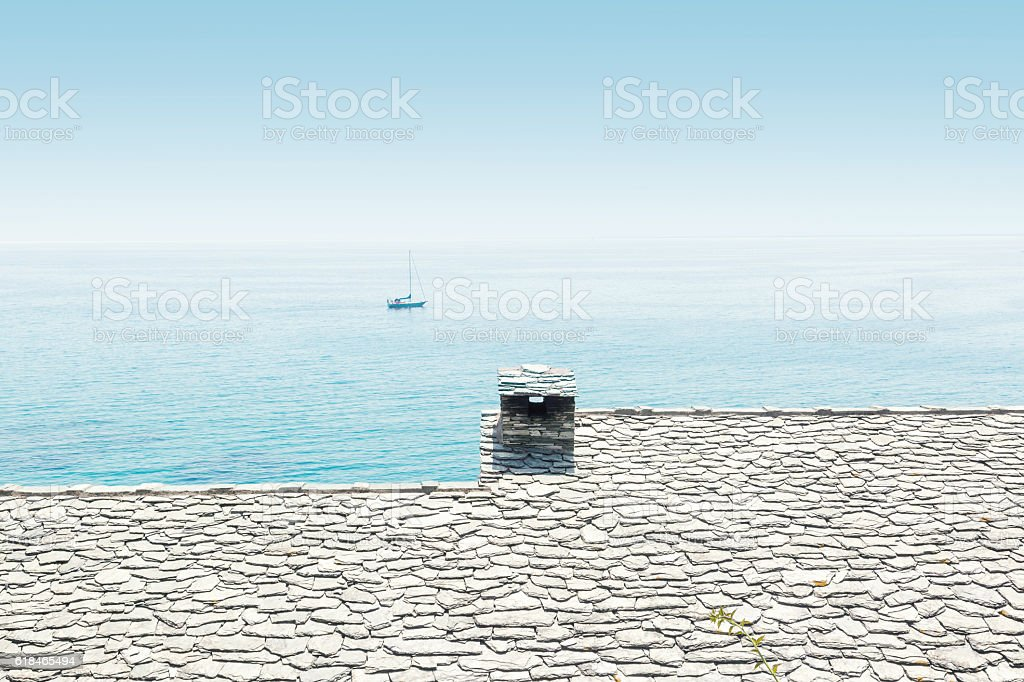 roof of a house by the sea stock photo