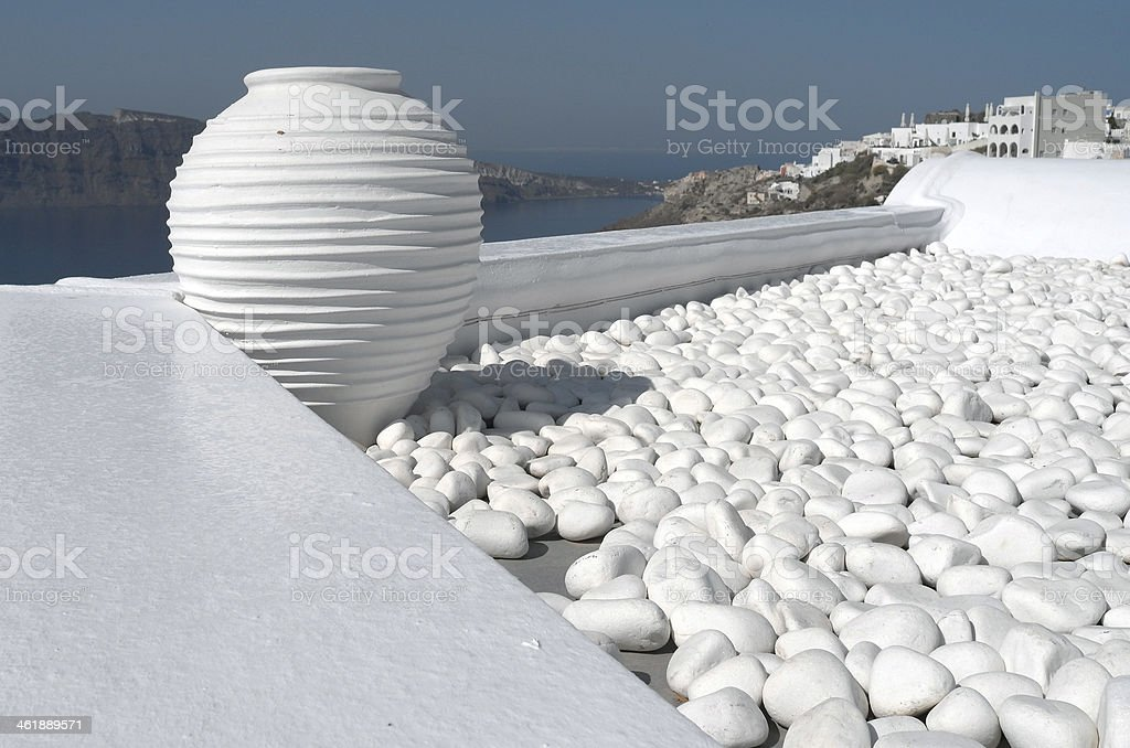 Roof of a house in Oia. stock photo