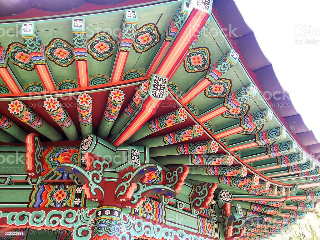 Roof of a South Korean temple stock photo