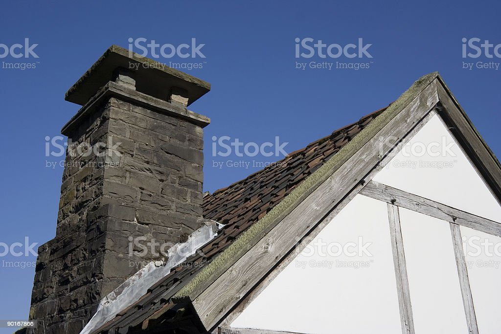 roof of an ancient house stock photo
