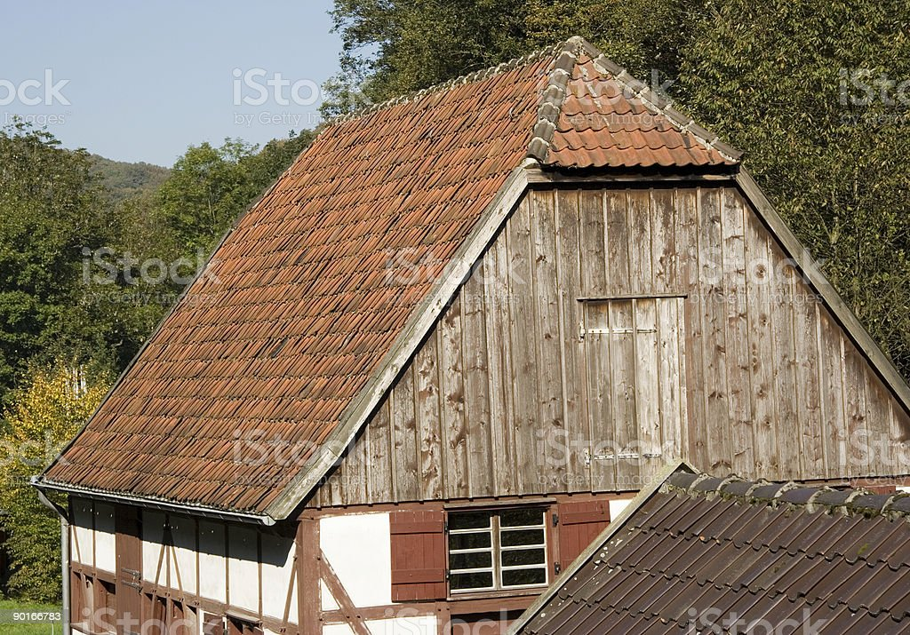 Roof of an ancient millwheel under monumental protection stock photo