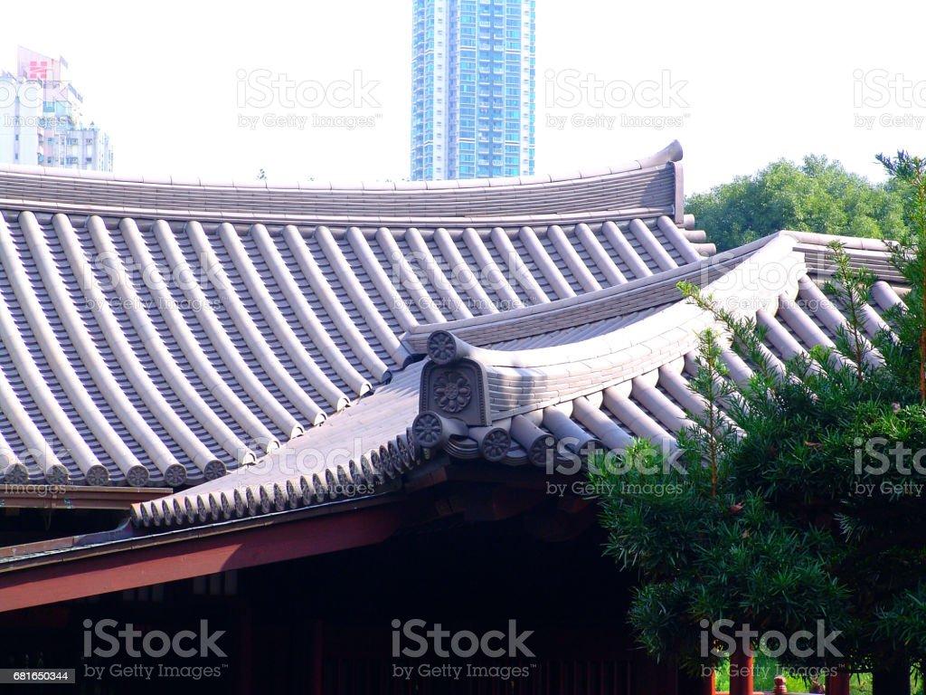 Roof of Chi Lin Nunnery, Diamond Hill, Hong Kong stock photo