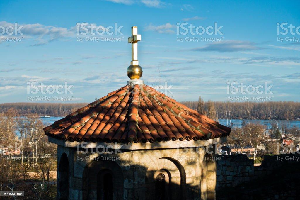 Roof of church at Kalemegdan fortress in Belgrade stock photo