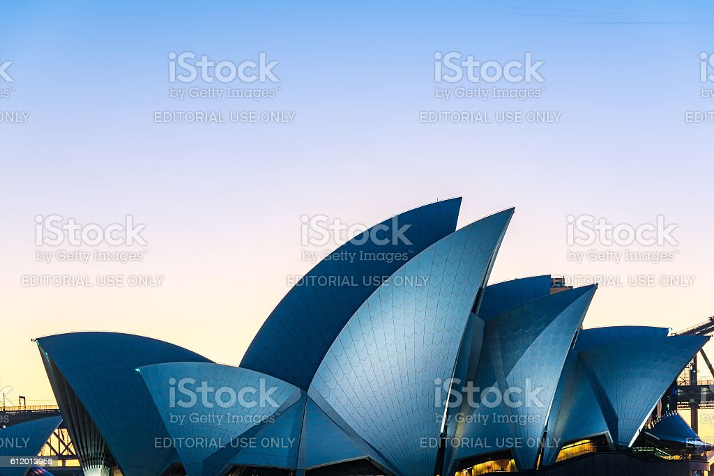 Roof of famous Australian tourist attraction Sydney Opera house stock photo