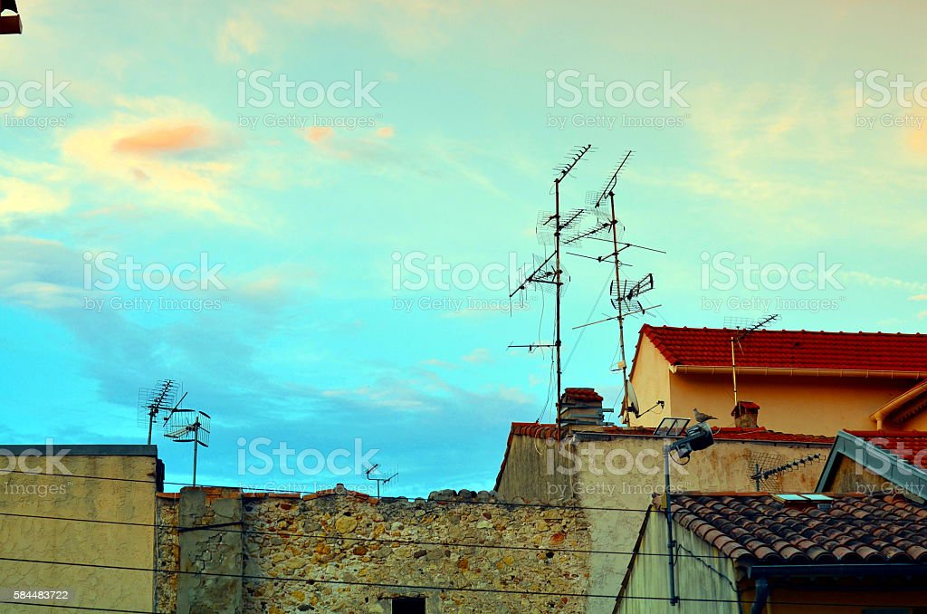 roof of france architecture with antenna stock photo