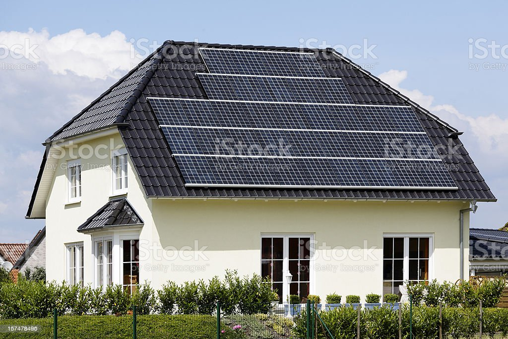 Roof of home with solar panels (XXXL) royalty-free stock photo