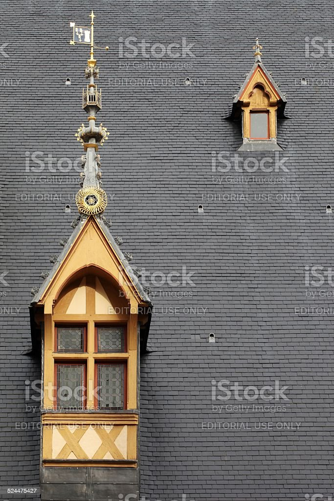 Roof of Hospices de Beaune stock photo
