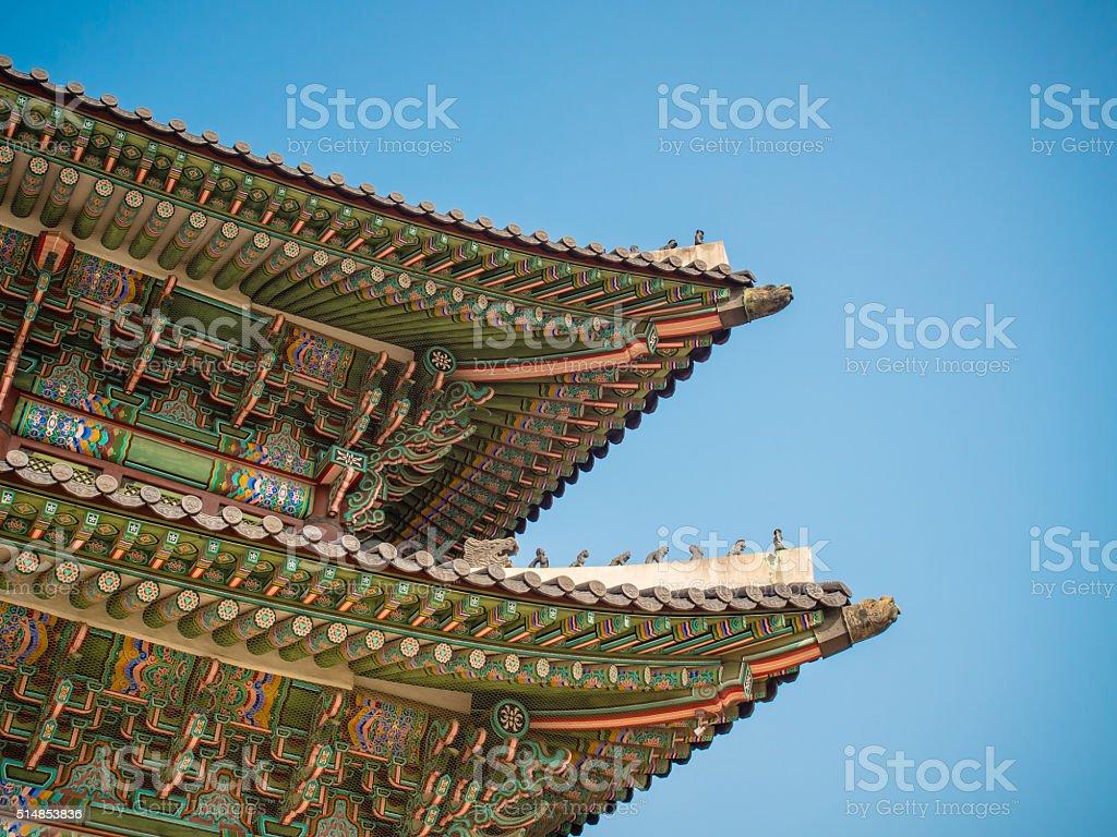 Roof of Korean Architecture stock photo