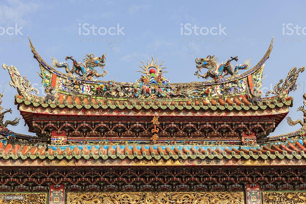 Roof of Mengjia Longshan Temple stock photo