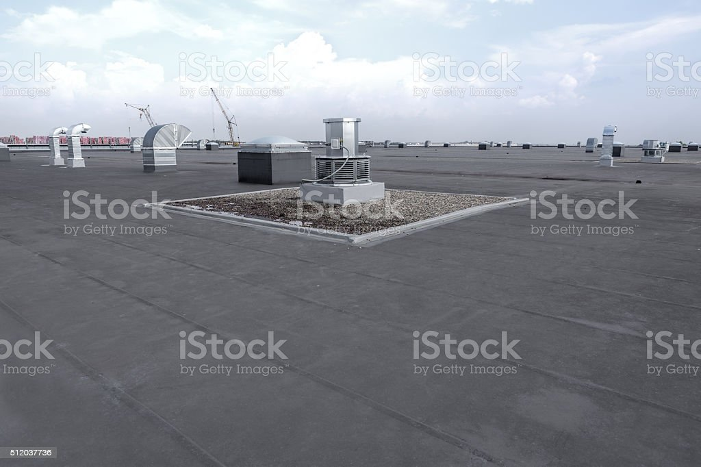 Roof of modern warehouse stock photo