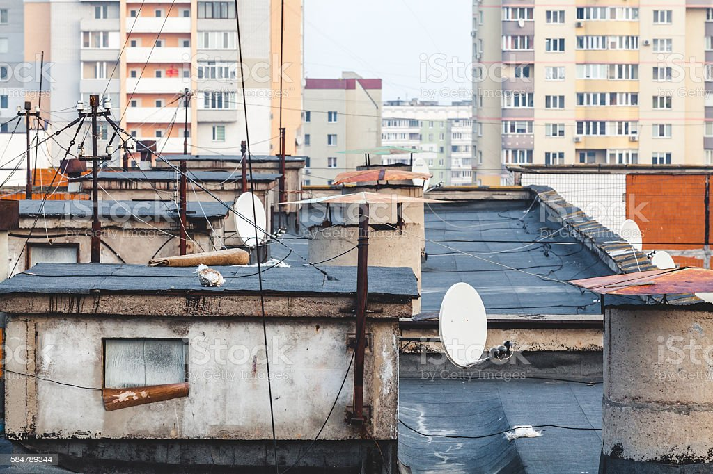 roof of multistory building. View from above stock photo