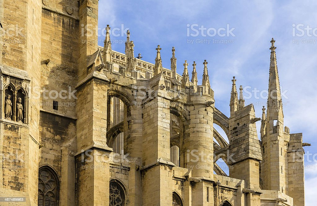 Roof of Narbonne Cathedral - France, Languedoc-Roussillon stock photo