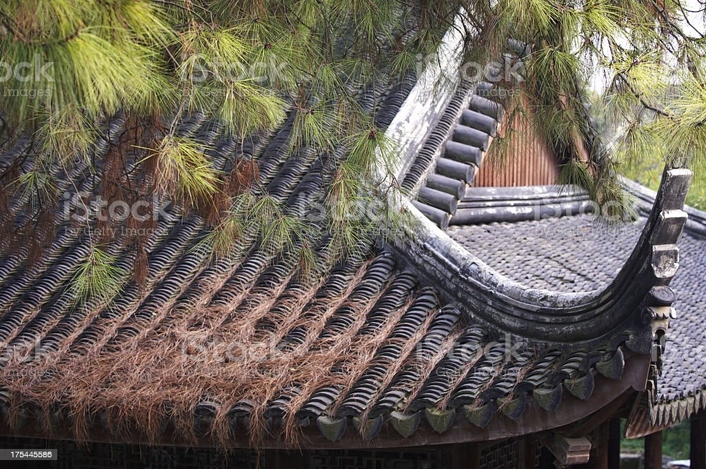 Roof of old chinese temple stock photo