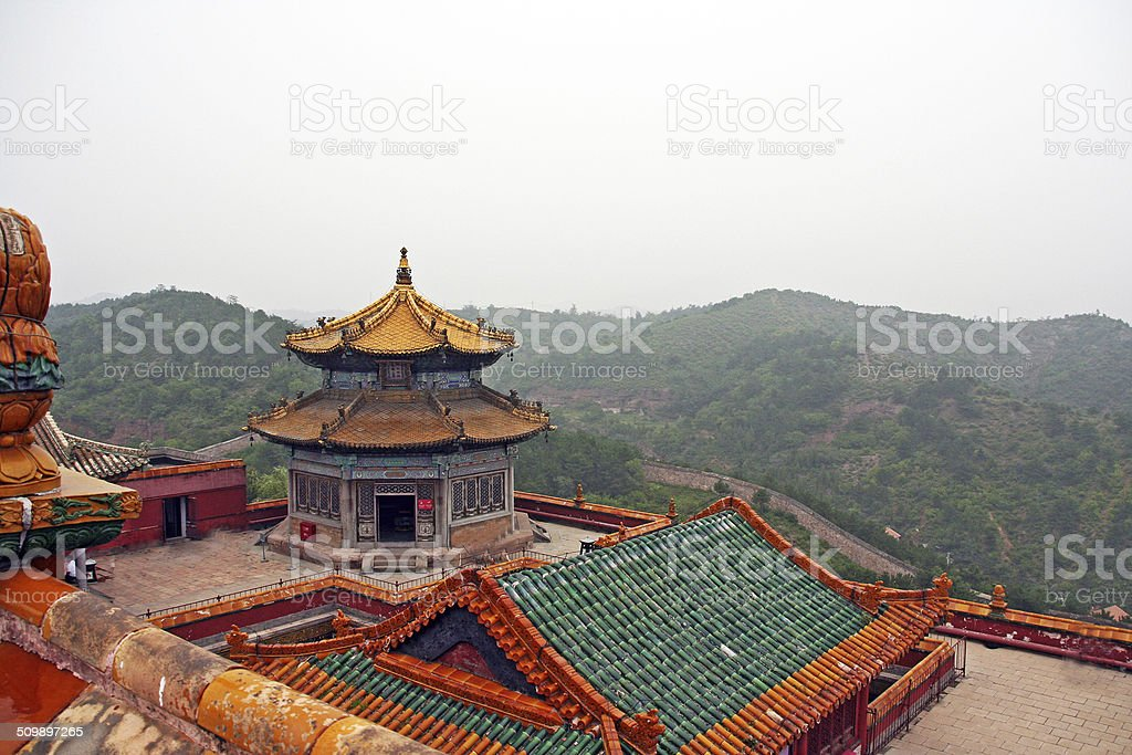 roof of Putuo Zongcheng monastery in Chengde, china stock photo