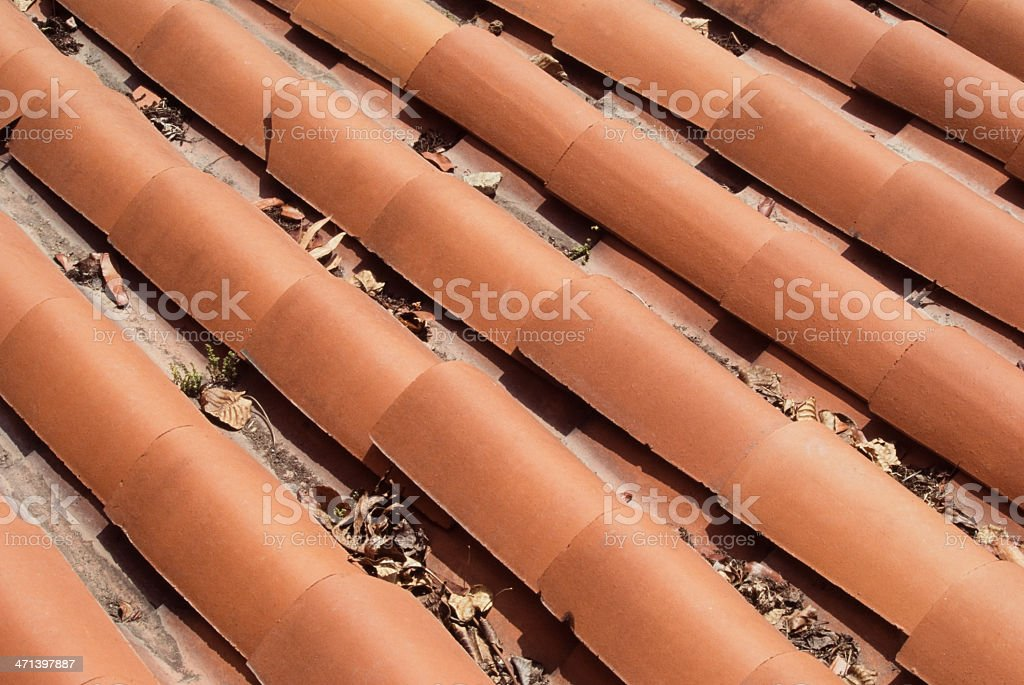 Roof of spanish style house. stock photo