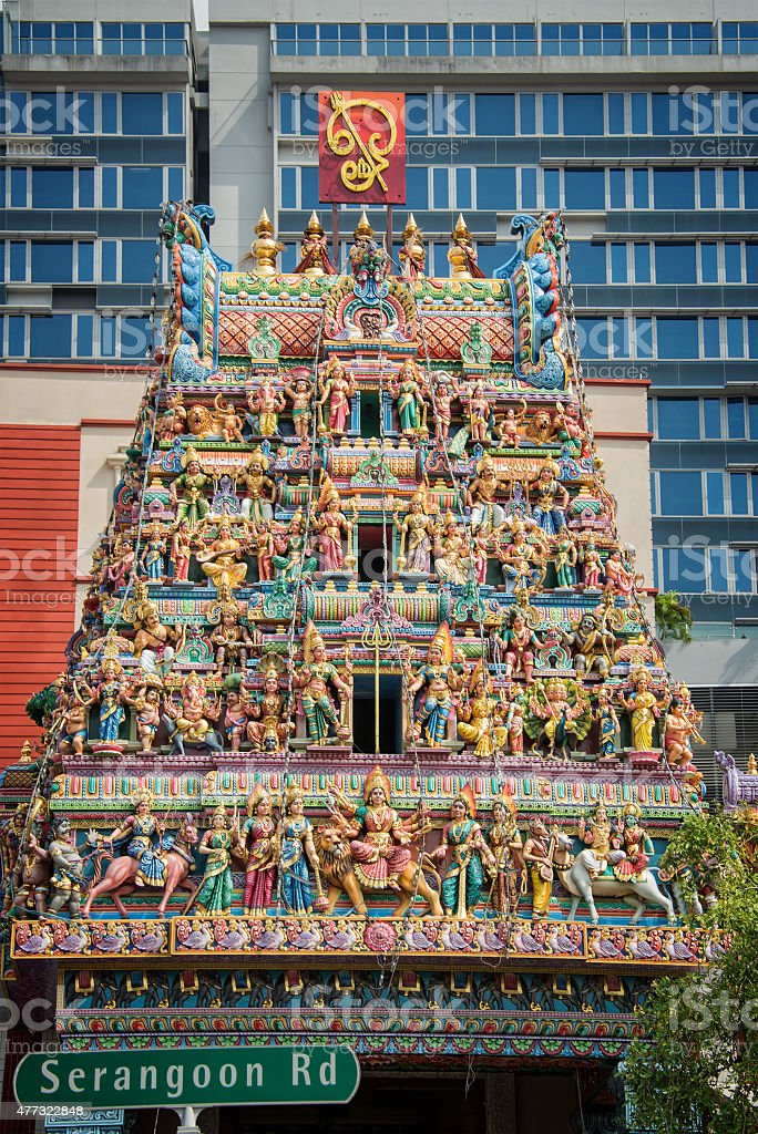 Roof of Sri Veeramakaliamman Temple in Little India Singapore stock photo