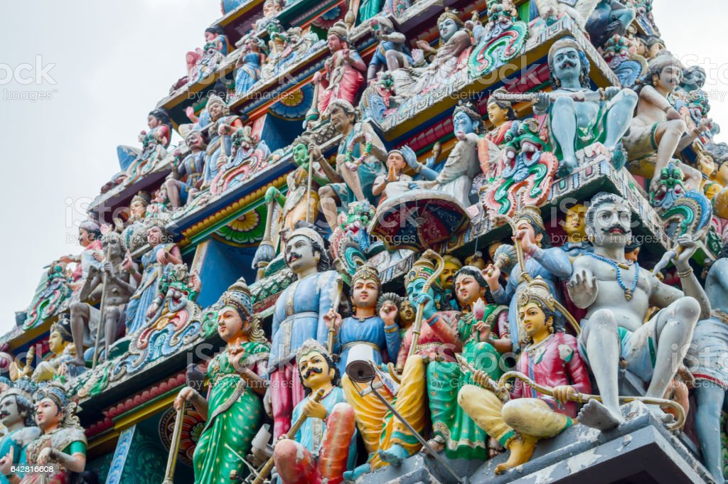 Roof of Sri Veeramakaliamman Temple in Little India, Singapore stock photo