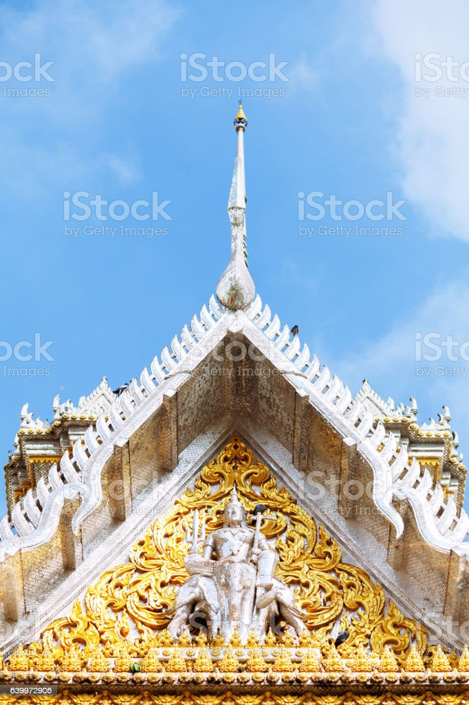 Roof of temple in Wat Muang stock photo