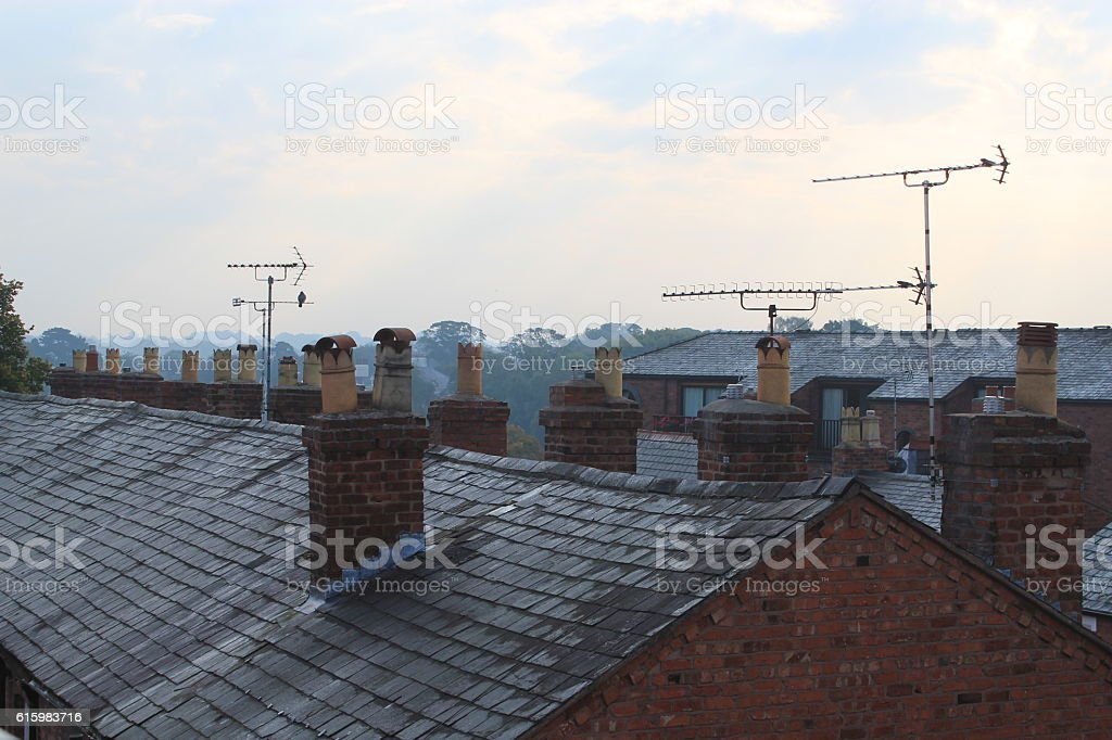 Roof of terrace houses stock photo