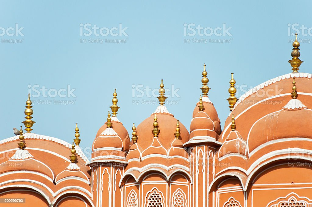 roof of the hawa mahal in india stock photo